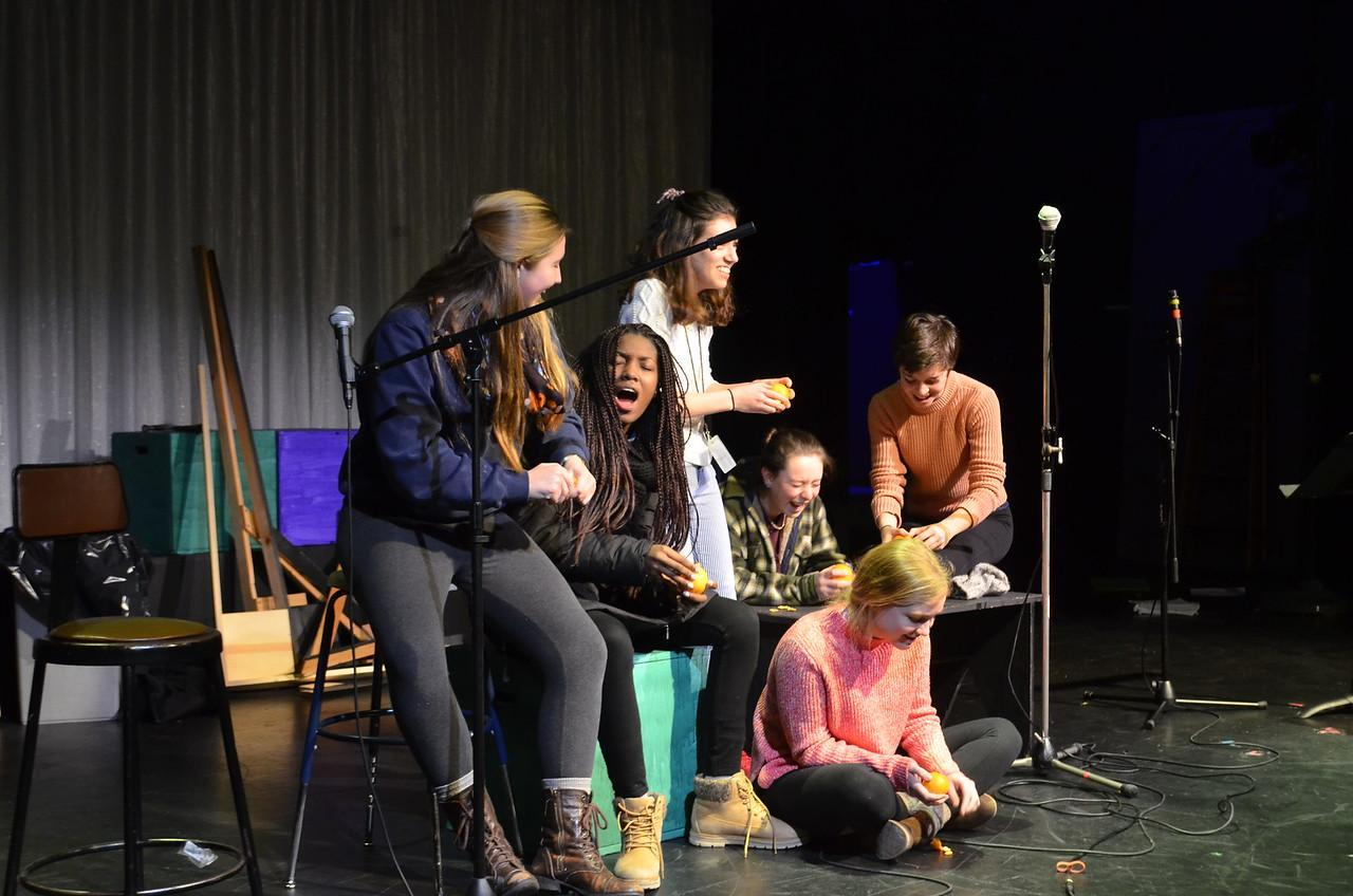 """Your Daily Dose of Vitamin C"" performing at Coffeehouse;  from the left: Agne '18, Nix '19, Ergueta '18, Knudsen '19, Wakeley '17, Gooderham '17."