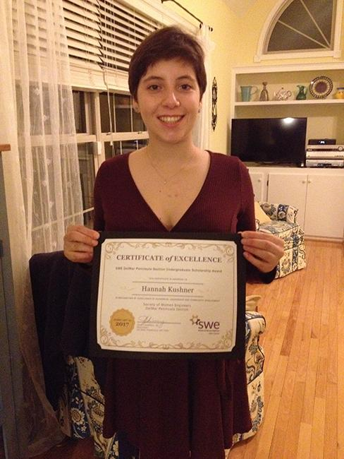 Hannah Kushner '17 proudly shows her achievement.
