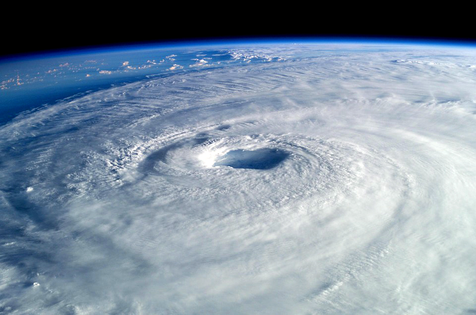 A view of a hurricane from outside the Earth's atmosphere