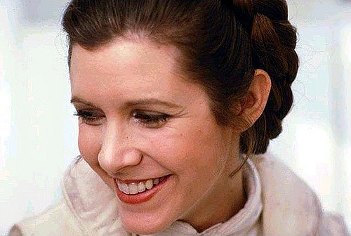 Carrie Fischer in her role as Princess Leia