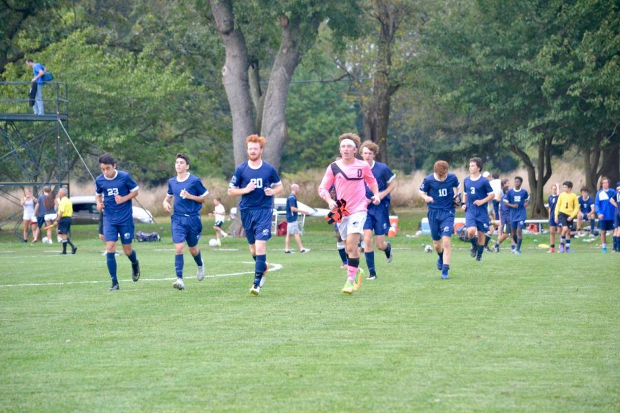 A few of the varsity players cooling down after a game against St. Andrews Academy.