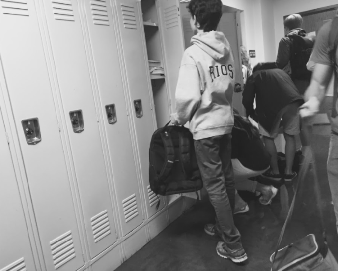 Students at their new assigned lockers.
