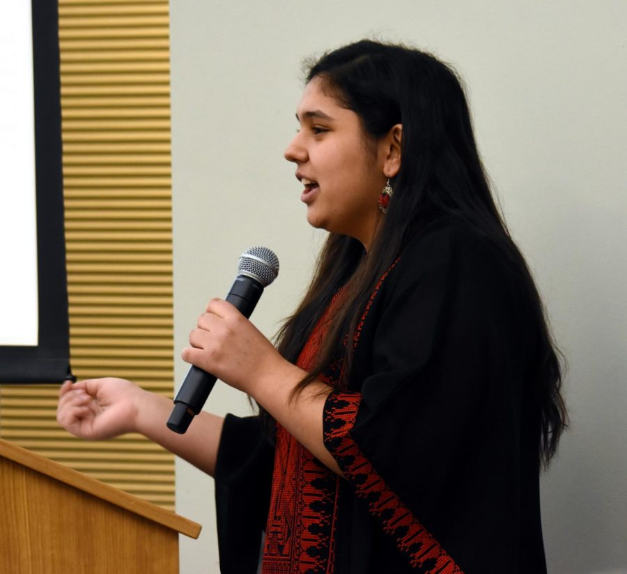 Siba Sharaf, student from Palestine, presents to the student body about the life and history of Palestine.